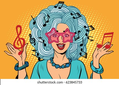 Young woman music notes instead of hairstyles. Pop art retro vector illustration. creativity and artistry