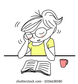 Young woman with nodding head falling asleep during reading book. Drowsy student with eyeglasses resting her chin on hands, falling asleep at desk behind text book and coffee mug. Hand-drawn vector.