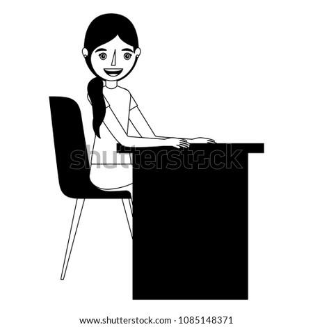 Super Young Woman Office Chair Desk Avatar Stock Vector Royalty Creativecarmelina Interior Chair Design Creativecarmelinacom