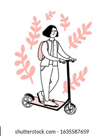 Young woman on kick scooter with pink backpack. Teen riding electric vehicle. Cute illustration of generation z, doodle vector decorated with branches