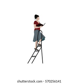 Young woman on stairs or ladder in a library holding a book illustration isolated on the white background. Female student at the library reading a book