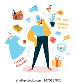 Young woman personal assistant standing and talking on the phone. There are many to-do list tasks around her. Put your business on me concept. Multitasking helper. Vector illustration.