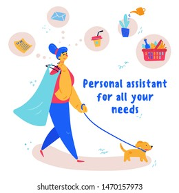 Young woman personal assistant walking a dog and holding a dress she took away from dry cleaning. There are many to-do list tasks around her. One assistant, every need concept. Vector illustration.