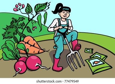 A young woman planting and gardening in spring, early summer.