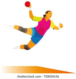Young woman  is player in handball with a ball attacking in a jump