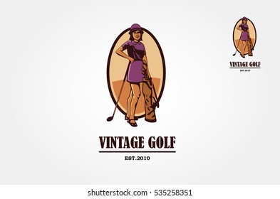 Young woman playing golf. Vector flat design illustration in the circle isolated on background.