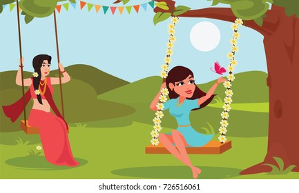Young woman playing swings tied on tree branches. Raja Parba or Mithuna Sankranti or Raja Doli khela. Oriya or Odisha region Indian cultural festival celebration concept illustration vector.