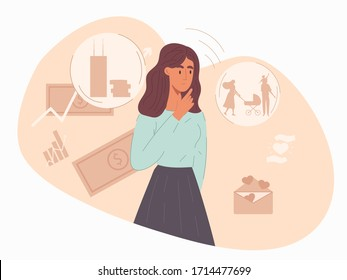 Young woman pondering her choice of finances or investments for raising a young family surrounded by dollar notes and charts, vector illustration