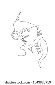 Young woman portrait. Continuous line drawing. Fashion illustration
