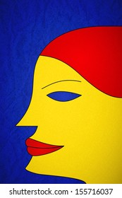 Young woman portrait in fauvism style