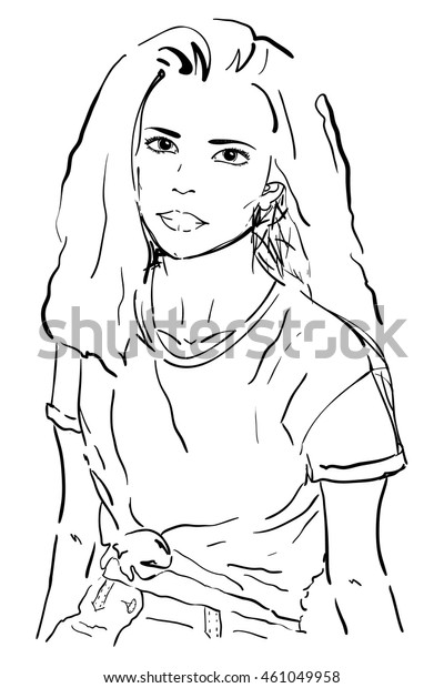 Young Woman Portrait Modern Girl Sketch Stock Vector