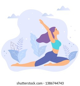 Young Woman Practice Yoga in Nature Flat Design. Girl Character sitting in lotus yoga pose outside with flowers isolated clip art.