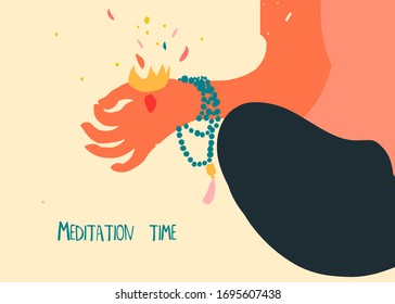 Young woman practicing yoga. Close up of hand with energy and prayer beads for meditation. Yoga mudra. Flat hand drawn vector illustration