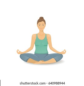 Young woman practicing yoga icon. The concept of Healthy lifestyle. icon for yoga center. Stretching posture. Relaxing and calm Lotus posture. Health activity.
