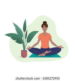 Young woman is practicing yoga sitting in Siddhasana on a yoga mat near the indoor plant. Vector illustration with texture in cartoon style.