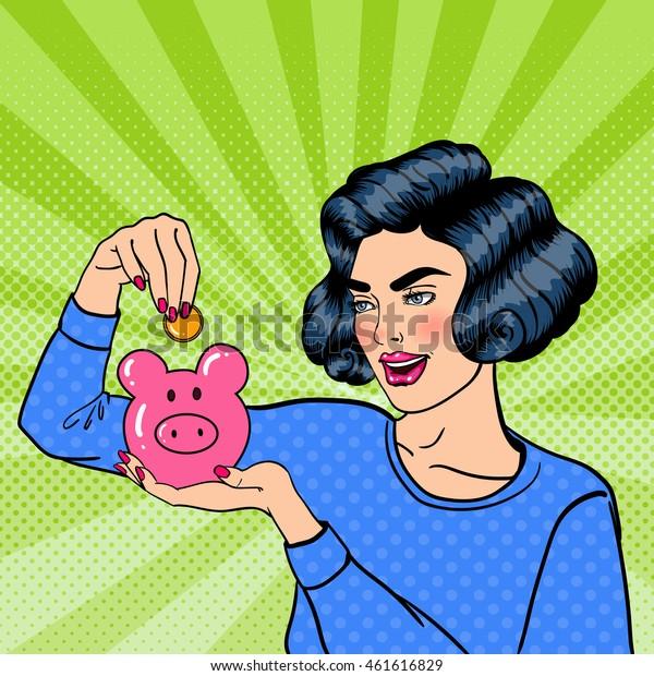 Young Woman Putting a Coin Into a Piggy Money Box. Pop Art. Vector illustration
