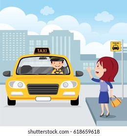 Young woman raising her arm to call a taxi