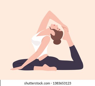 Young woman in Raja Kapotasana posture or King Pigeon Pose. Female cartoon character practicing yoga. Yogi girl performing physical activity isolated on light background. Flat vector illustration.