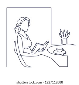 Young woman reading book continuous one line vector drawing. Leisure time, hobby. Hand drawn girl studying. Literature cafe. Woman resting and drinking tea. Minimalistic contour illustration