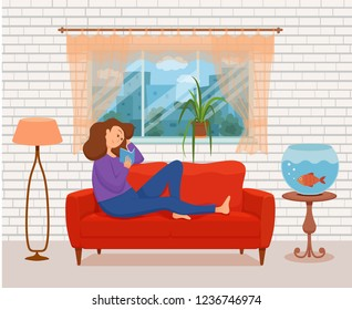 Young woman reading book sitting on the sofa. Colorful cartoon vector illustration of girl studying. Modern living room flat style interior with floor lamp, window, cat, aquarium fish, house plant.