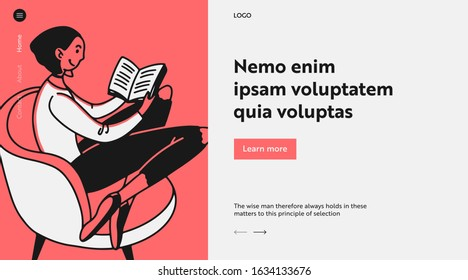 Young woman reading novel at home. Girl sitting in armchair with book flat vector illustration. Library, education, book reader concept for banner, website design or landing web page