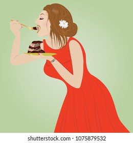 A young woman in a red dress enjoys eating a cake
