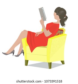 A young woman in a red dress sits in her chair and reads the book
