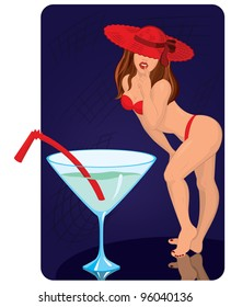 Young woman in red hat is standing near giant cocktail vector illustration