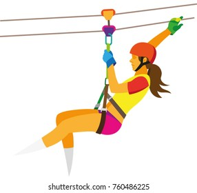 a young woman in a red helmet descends on a strongrope at an attraction zipline