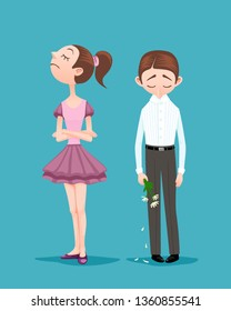 Young woman refused to go on a date with boyfriend. Upset boy standing with bowed head, holding bouquet of broken crumbled flowers. Arrogant girl turned up her nose and pointedly turned away from guy