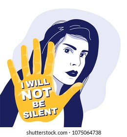 Young woman refuses to be silent and desides to stop violance, sexual harassment and slut-shaming of women. Minimalistic colored vector illustration for web, posters, flyers.