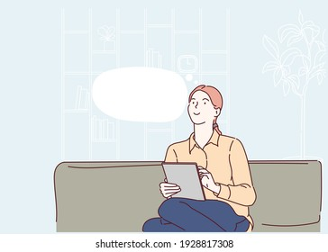 Young woman relax on couch at home using tablet look in distance dreaming thinking. Hand drawn in thin line style, vector illustrations.