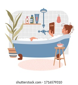 Young woman relaxes in bath and reads book. Daily life and everyday routine. Girl is in cozy bathroom with home plants and cup of tea. Cartoon vector illustration. Vector illustration in flat style.