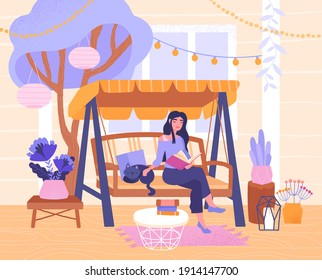 Young woman relaxing in garden swing on the terrace. Pretty adorable girl reading book on the balcony. Home garden and cute exterior design. Modern vector illustration.