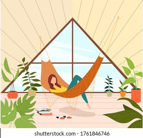 Young woman relaxing in hammock on the terrace. Girl reading book on the balcony. Home garden and cute exterior design. Conservatory with hammock. Modern illustration.