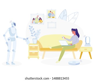 Young Woman Relaxing at Home with Laptop Sitting on Couch, Humanised Robot Doing Household Works, Spraying Home Plant. Artificial Intelligence, Ai Technologies in Life Cartoon Flat Vector Illustration