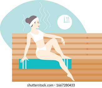 Young woman relaxing in hot sauna bath flat vector illustration