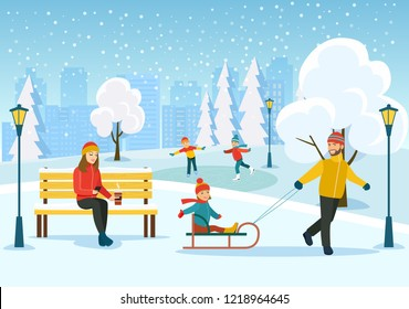 Young woman relaxing on bench, Happy man with kids sledding in the winter park.   Vector flat style illustration