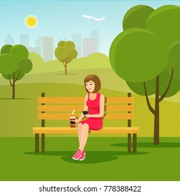 Young woman relaxing on bench with smartphone at park. Vector flat illustration