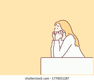 Young woman resting chin on hand.  Hand drawn style vector design illustrations.