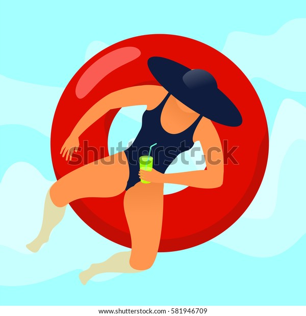 Young woman resting on floating red rubber ring on swimming pool water background. Summer rest. Sea vacation. Vector flat illustration.