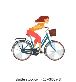 Young Woman Riding Bike Fast, Female Cyclist Character on Bicycle Vector Illustration