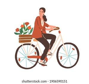 Young woman riding city bicycle in retro style with wooden box of spring flowers. Cycling female character isolated on white background. Hand-drawn colored flat vector illustration