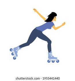 A young woman riding fun with her inline skate. Flat vector design character illustration with white background.