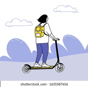 Young woman riding on electric scooter. Micromobility illustration. Teen with yellow backpack moving forward, oudoors activity