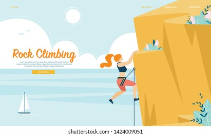 Young Woman with Rope and Sports Equipment Engaged in Rock Climbing. Extreme Sport Activity, Leisure. Girl Conquering Mountain Top on Seascape Background. Cartoon Flat Vector Illustration, Banner