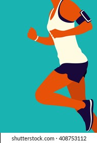 Young woman running. Art poster. Vector illustration.