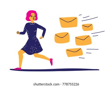 Young woman running away from bunch of emails. Office worker escaping spam. Procrastination. A lot of envelopes following sad girl. Vector illustration in flat style isolated on white background
