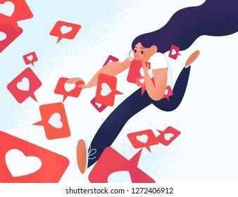 Young woman running and grabbing like notifications. Girl addicted to social media and online feedback. Addiction to internet approval and validation. Vector illustration in flat cartoon style.