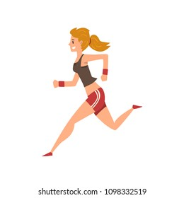 Young woman running in sportswear, active healthy lifestyle concept cartoon vector Illustration on a white background
